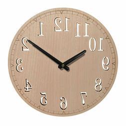 Round Wall Clock, 12 Inch Silent Non-Ticking Quartz Wood Clo