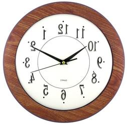 "Timekeeper Products LLC 12"" Wood Grain Round Wall Clock, Lig"