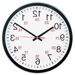 """Universal 24-Hour Round Wall Clock, 12 1/2"""", Black, Case of"""