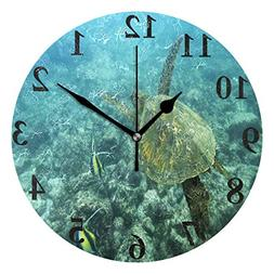 FunnyCustom Round Wall Clock Deep Sea Swimming Turtle Acryli