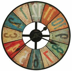 """Rustic Colorful Wall Clock, Large 27"""" Office Home Decor Art,"""