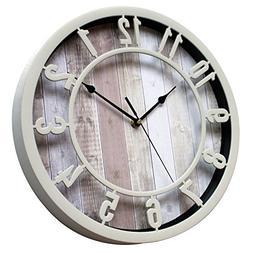 Sunbright 12 Inch Rustic Decorative Noiseless Wall Clock Sil