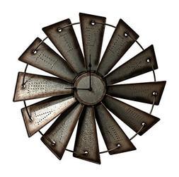 Gianna's Home Rustic Farmhouse Metal Windmill Wall Clock