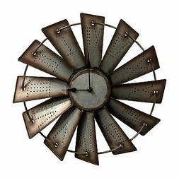 Gianna's Home Rustic Farmhouse Metal Windmill Wall Clock