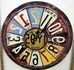 RUSTIC LOOKING ROUND WALL CLOCK W/ LICENSE PLATE MOTIF -15.5