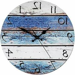 Rustic Wall Clocks Beach 12&quot Round, Silent Non Ticking -