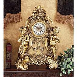 Saint Remy Cherub Clock, Mantel, Traditional, Analog, Brass