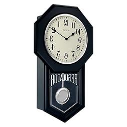 "Bulova C1519 School Master Wall Clock, 18"", Ebony Finish"