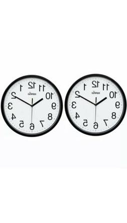 Set Of 2 Black Wall Clock Non Ticking Quality Quartz by Hipp