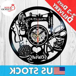 Sewing Instruments Hobby Sew Vinyl Record Wall Clock Gift Fo