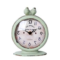 Shabby Chic Pewter Round Quartz Table Clock With 2 Birds, 4.