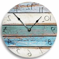 SHABBY CHIC WEATHERED Clocks Teal Rustic Wall Beachy CLOCK B