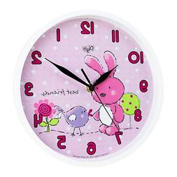 Silent 10 inch Bunny Wall Clock for Kids Room
