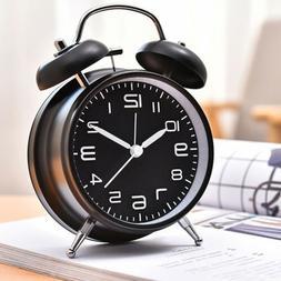 Silent Analog Alarm Clock Twin Bell Vintage Retro Classic Ni