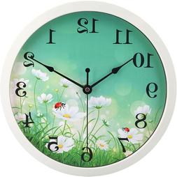 hito Silent Floral Wall Clock Non Ticking 10 inch Excellent