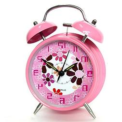 "hito 4"" Pink Silent Alarm Clock Battery Operated Night Light"