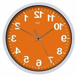 HITO Silent Non-ticking Colorful Wall Clock -12 Inches Orang