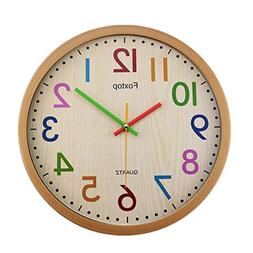Foxtop Silent Non-Ticking Kids Wall Clock Large Decorative C
