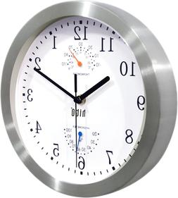 Silent Non-ticking Wall Clock- Aluminum Frame Glass Cover, 1