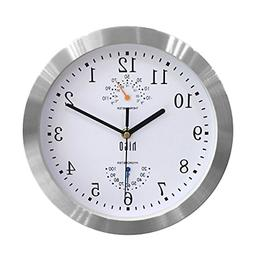 HITO Silent Non-ticking Wall Clock- Aluminum Frame Glass Cov
