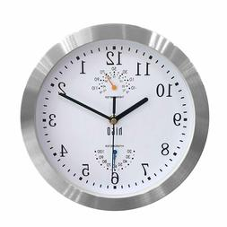 HITO Silent Non Ticking Wall Clock Aluminum Frame Glass Cove
