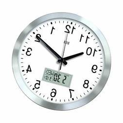 hito 12 Inches Silent Non-Ticking Modern Wall Clock w/Alumin