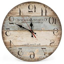 LOHAS Home 12 Inch Silent Vintage Design Wooden Round Wall C