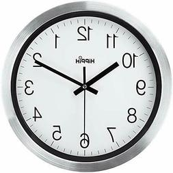 Silent Wall Clock 12 Inch Battery Operated Non-Ticking Silve