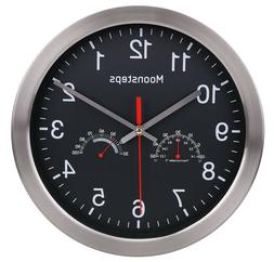 "12"" Modern Indoor/Outdoor Wall Clock With Temperature and Hu"