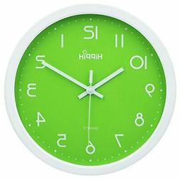 HIPPIH Silent Wall Clock Wood 12 Inch Non Ticking Digital Qu