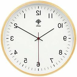 Hippih Silent Wall Clock Wood 8inches Non Ticking Digital Qu