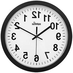 HIPPIH Large Silent Wall Clock - 12 Inch Non-Ticking Univers
