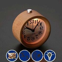 Small Alarm Clock with Night Light Wood Classic Round Silenc