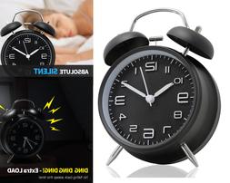 Small Analog Loud Alarm Clock Silent No Ticking Twin Bell Cl