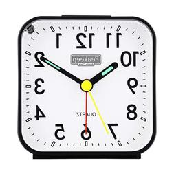 Small Analog Travel Loud Alarm Clock Battery Operated No Tic