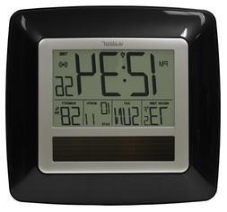 Solar Atomic Digital Wall Clock - Color: Black