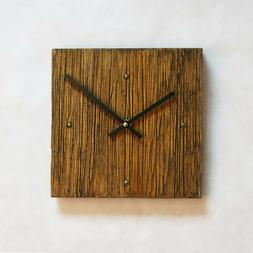Handmade Square Wooden Rustic Wall Clock Battery Operated Ho