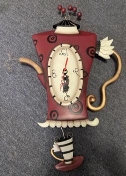 Allen Designs `Steamin` Tea` Teapot Pendulum Wall Clock New