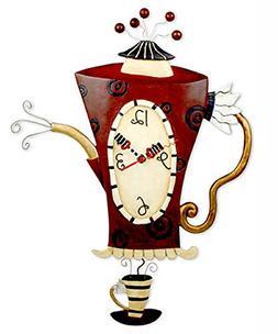 Allen Designs Steamin' Tea Teapot Pendulum Wall Clock