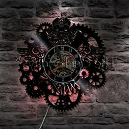 Steampunk Owl Gears and Cogs Wall Clock Mechanical Fish Viny