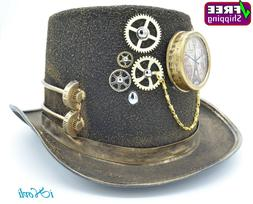Steampunk Top Hat Costume Cosplay Party With Clock and Gears