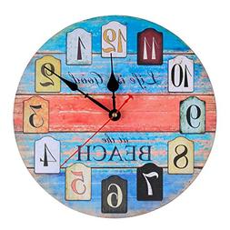 KI Store Silent Wall Clock Non Ticking Vintage Rustic Wooden