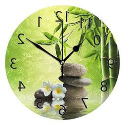 ABLINK Stylish Bamboo and Zen Stone Round Acrylic Wall Clock