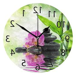 ABLINK Stylish Zen Stone and Bamboo Round Acrylic Wall Clock
