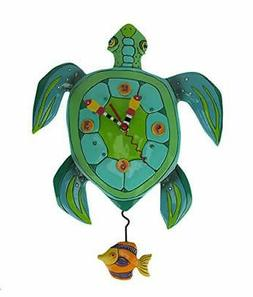 "Allen Designs ""Sup Dude? Whimsical Turtle Pendulum Wall Cloc"