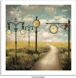 Surreal Landscape Of Clocks Art/Canvas Print. Poster, Wall A