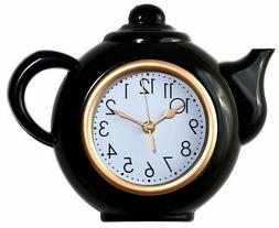 Tea Pot Shaped Wall Clock For Kitchen,Non-Ticking,Black/Whit