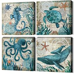 Teal Home Wall Art Decor - Ocean Theme Mediterranean Style C