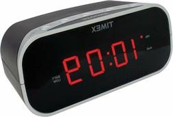 Timex T121B Alarm Clock with 0.7in Red Display Black Travel