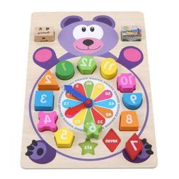 Toy Clock Educational Colorful Wooden Clock for Toddlers Bab